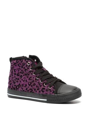 hoge sneakers met panterprint paars/zwart