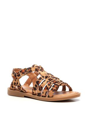 sandalen met panterprint bruin