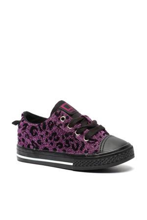 sneakers met panterprint paars/zwart