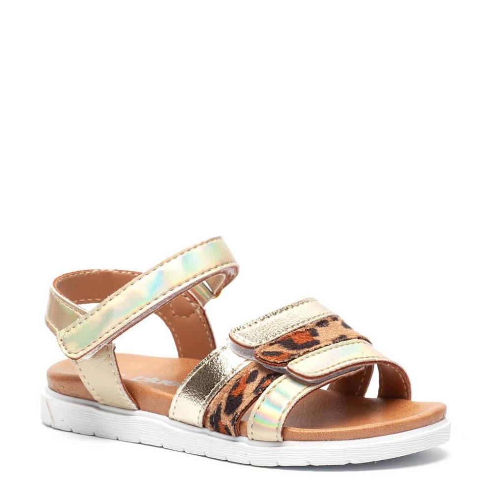 Scapino Blue Box   sandalen met panterprint goud, Goud/bruin
