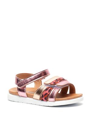 sandalen met panterprint roze/metallic