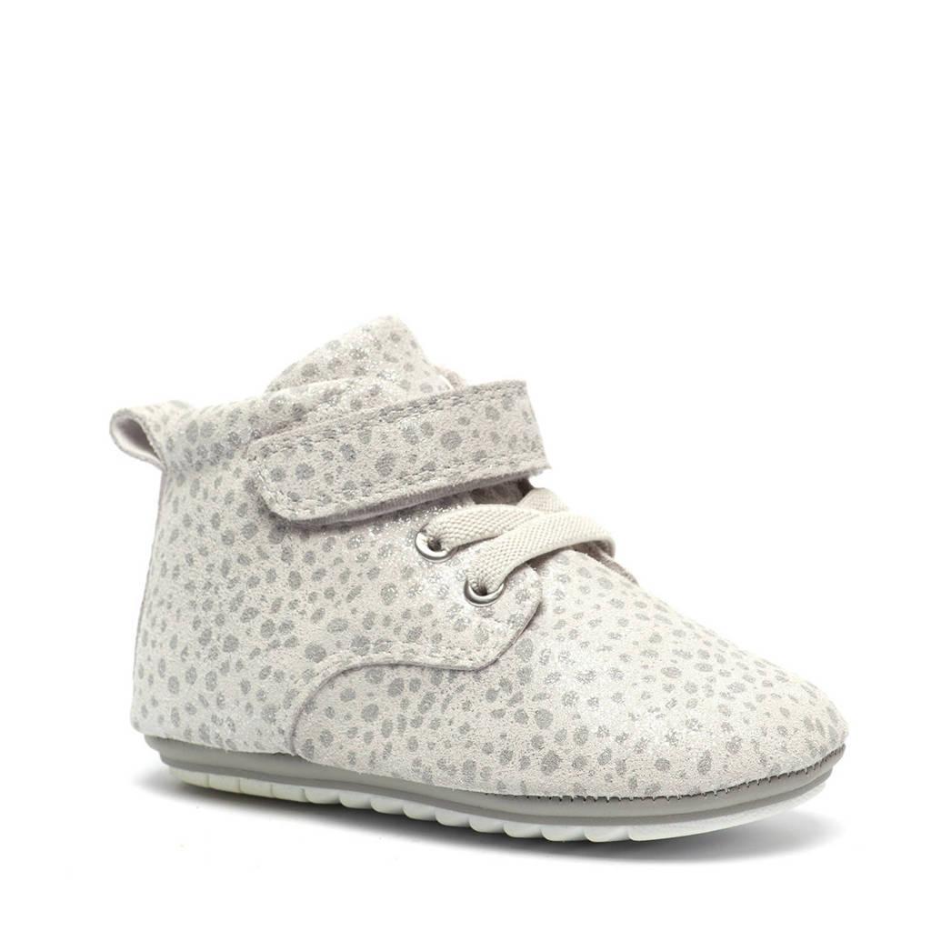 Scapino Groot   leren babyschoenen met stippen lichtgrijs, Wit/zilver
