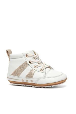 leren babyschoenen wit/goud