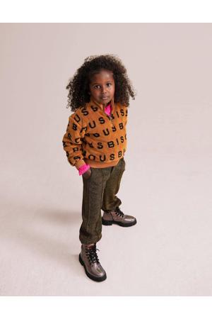 sweater Anoa met all over print bruin