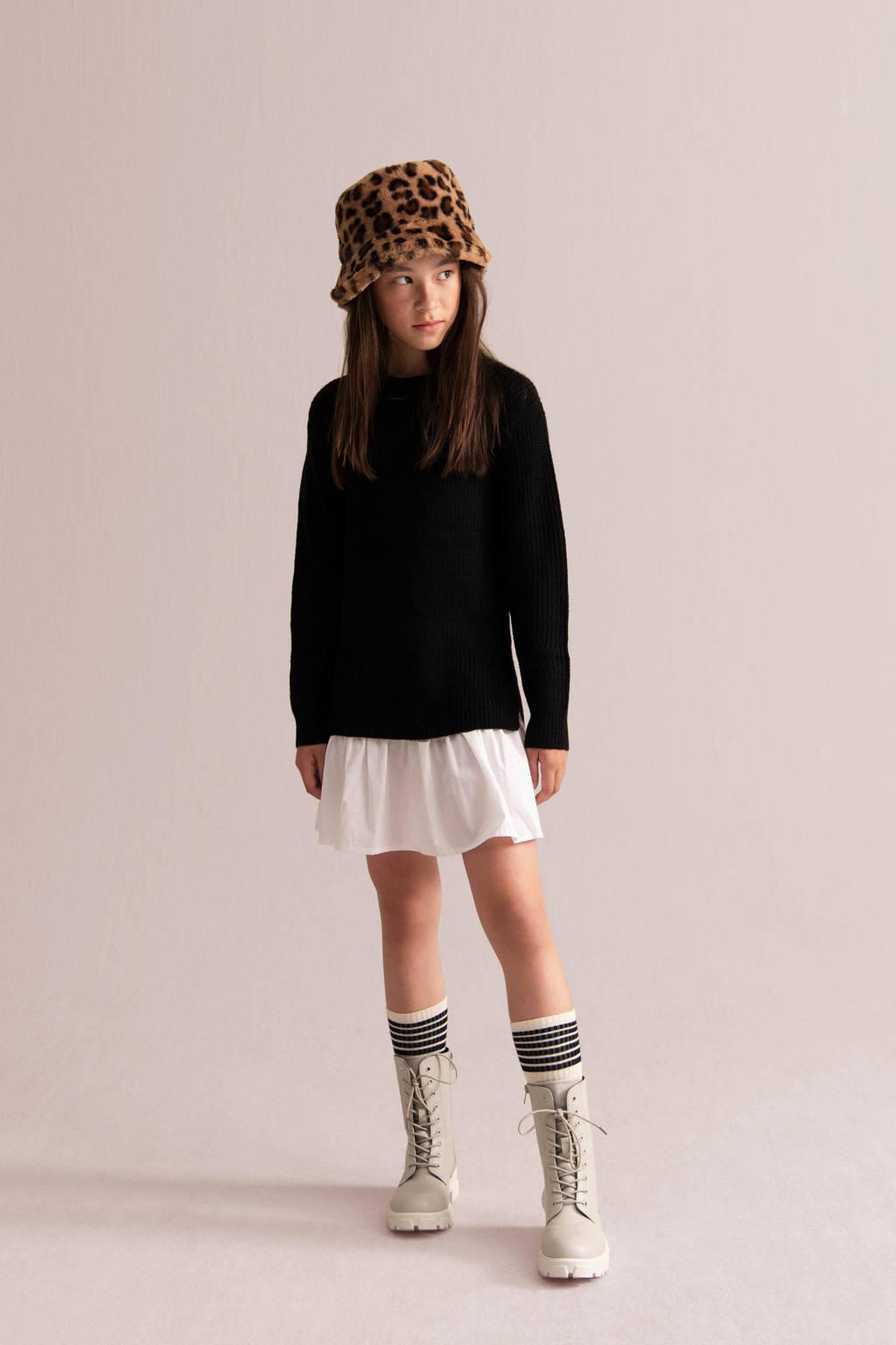 Shoeby Jill & Mitch jurk Amory zwart/wit, Zwart/wit