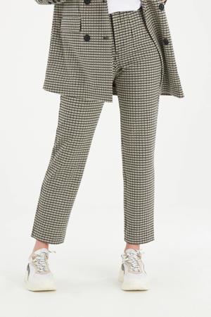 cropped straight fit broek Brooklyn met pied-de-poule ecru/zwart/bruin