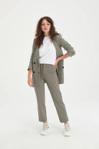Shoeby Eksept cropped straight fit broek Brooklyn met pied-de-poule ecru/zwart/bruin, Ecru/zwart/bruin