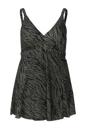 badpakjurk met zebraprint donkergroen/zwart