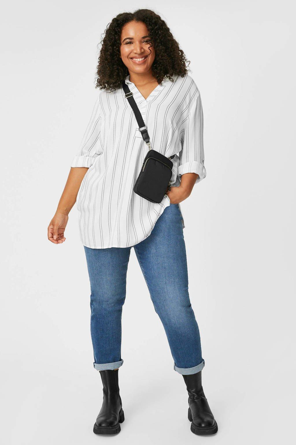 C&A XL Yessica gestreepte tuniek wit/zwart, Wit/zwart