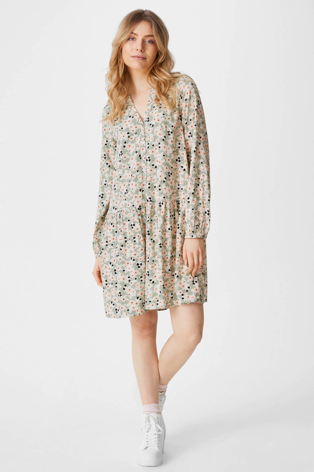 C&A Yessica gebloemde jurk lichtgroen, Lichtgroen