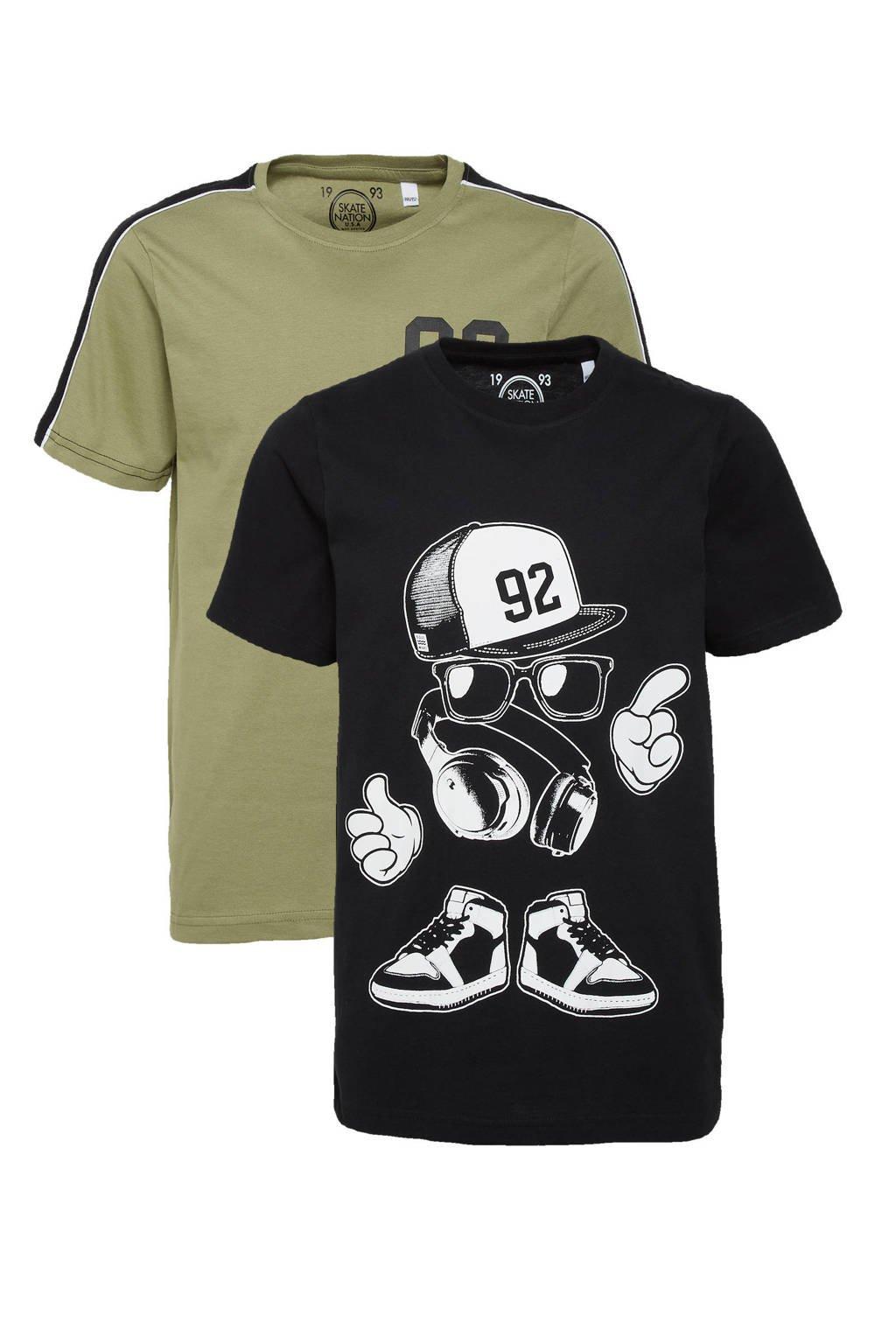 C&A Skate Nation T-shirt - set van 2 blauw/olijfgroen, Zwart