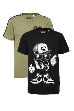 T-shirt - set van 2 blauw/olijfgroen