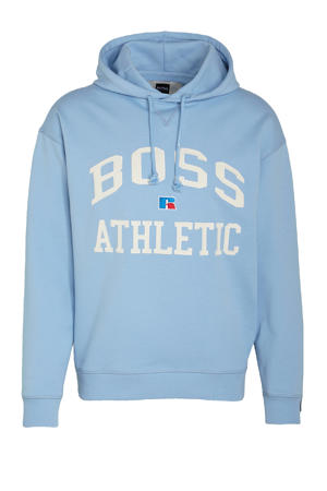 BOSS x Russell Athletic hoodie Safa met logo lichtblauw