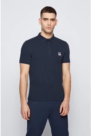 BOSS x Russell Athletic slim fit polo Petroc donkerblauw