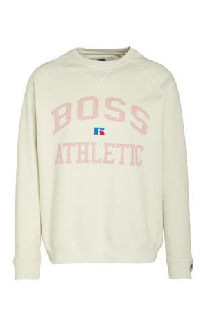 BOSS x Russell Athletic sweater Stedman met logo ecru