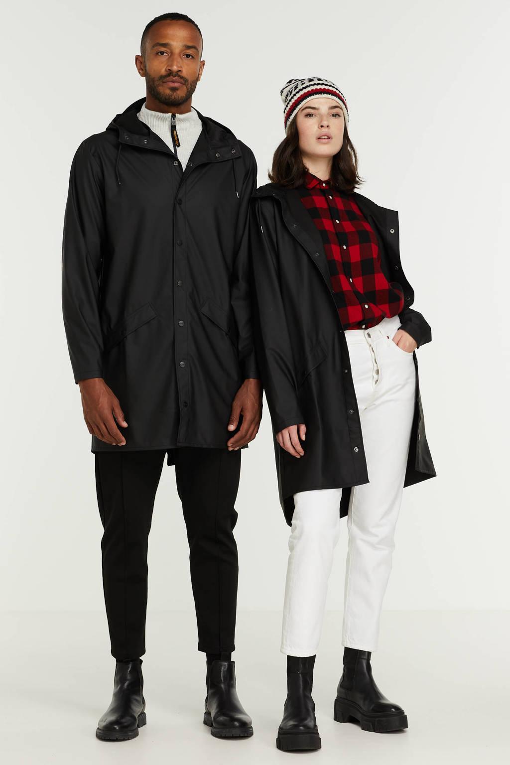 Rains 1202 Long Jacket regenjas zwart, Zwart