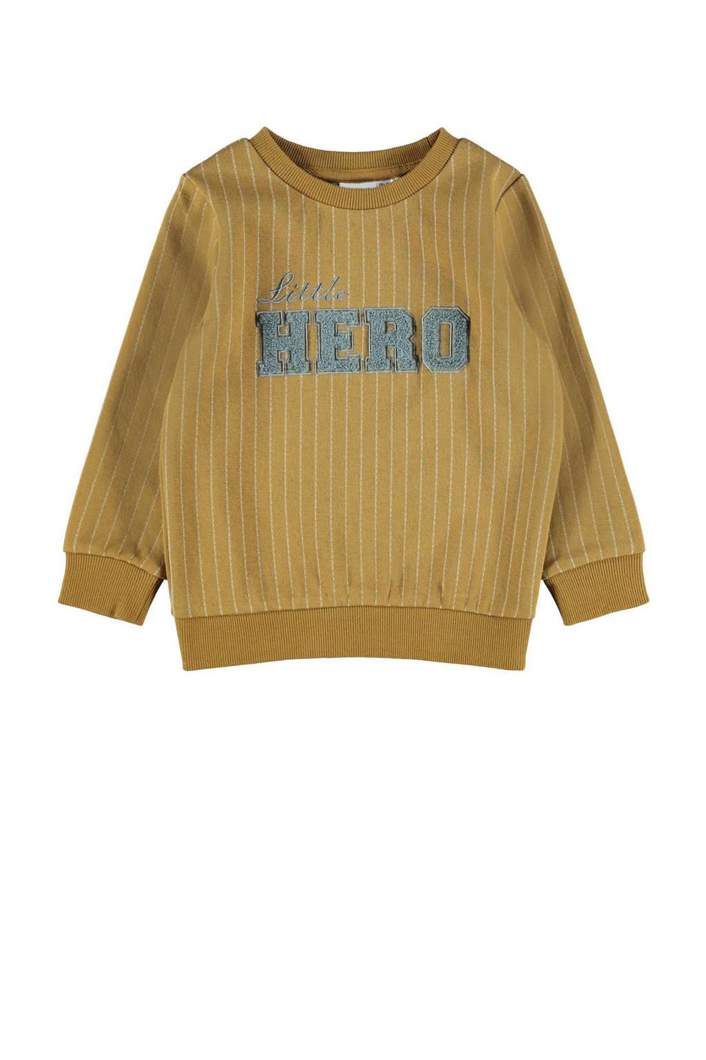 NAME IT MINI sweater NMMNICOLAJ met tekst okergeel, Okergeel