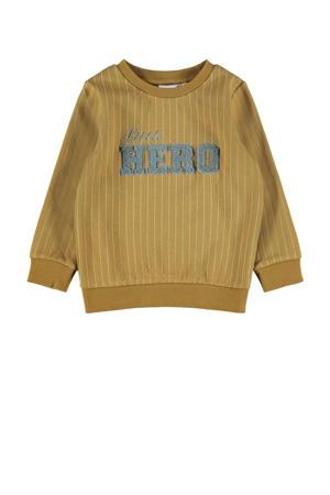 sweater NMMNICOLAJ met tekst okergeel