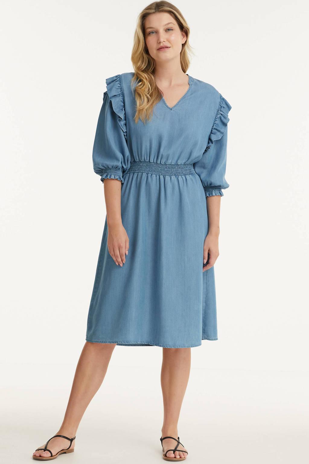 Miljuschka by Wehkamp tencel jurk met ruches blauw, Blauw