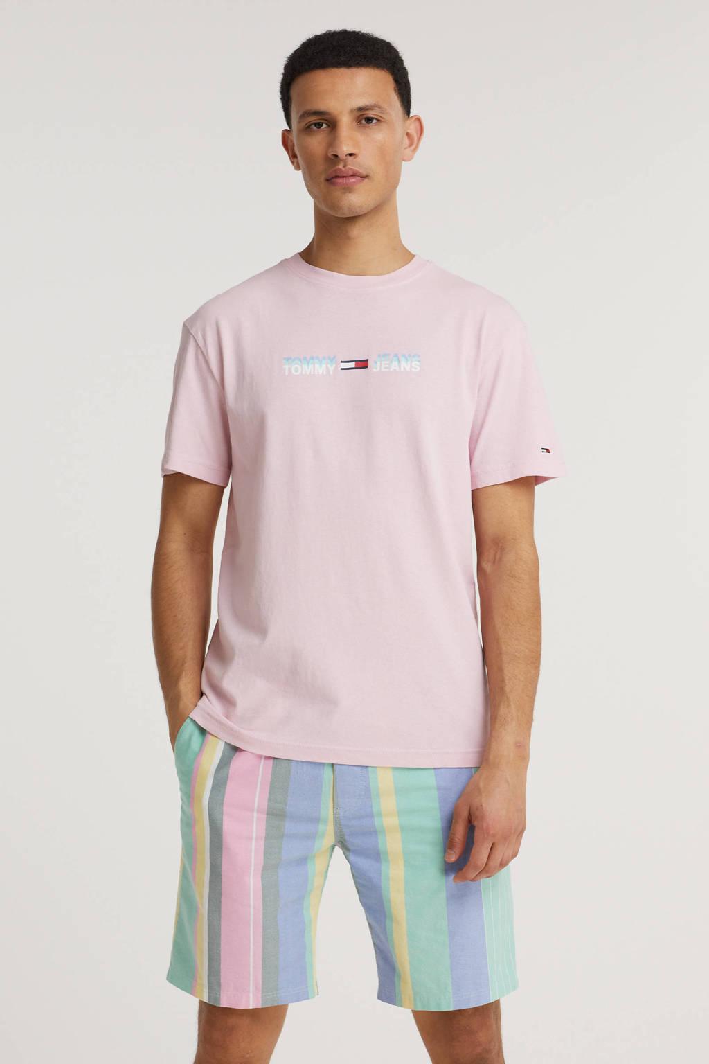 Tommy Jeans T-shirt Linear logo van biologisch katoen lichtroze, Lichtroze