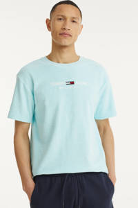 Tommy Jeans T-shirt Toweling met biologisch katoen lichtblauw, Lichtblauw