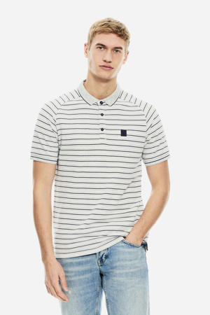 gestreepte regular fit polo wit