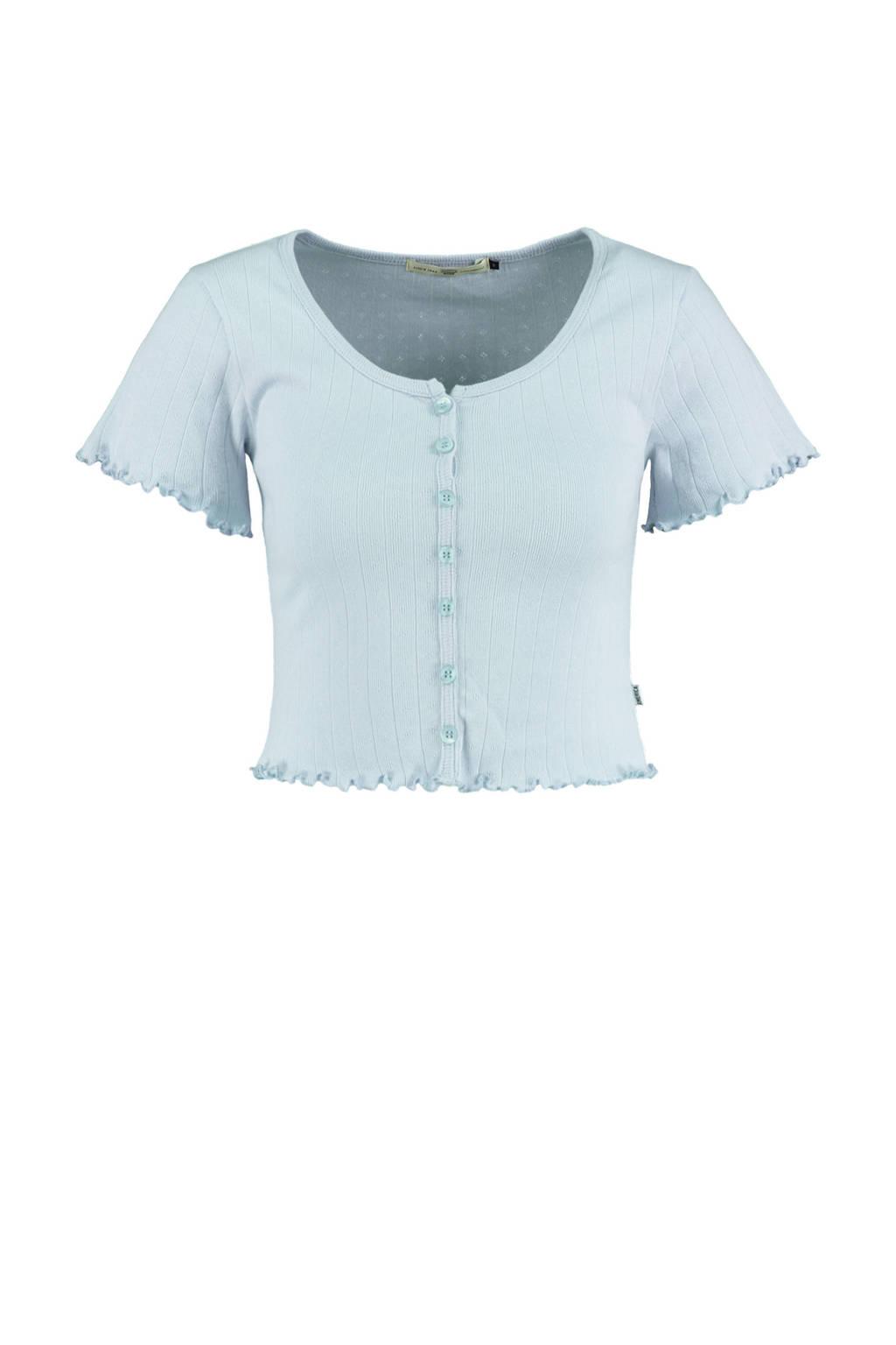 America Today cropped T-shirt lichtblauw, BabyBlue