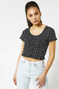 America Today cropped T-shirt lichtblauw, washed black