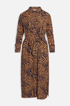 blousejurk met all over print en ceintuur bruin
