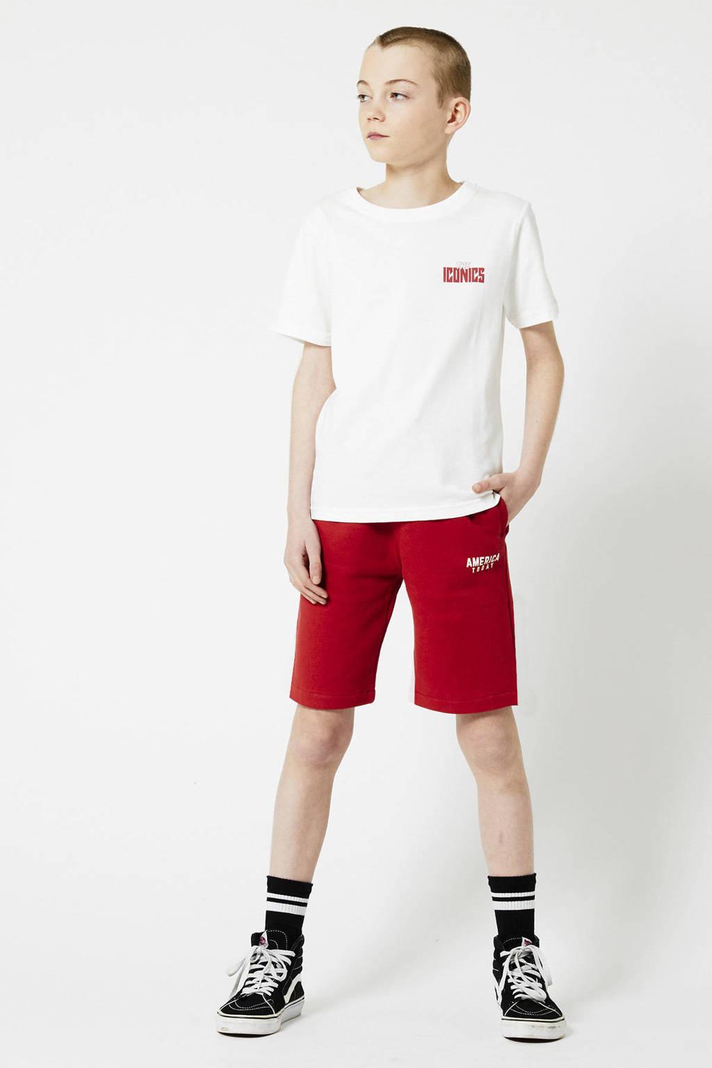 America Today Junior regular fit sweatshort Nat rood, Rood