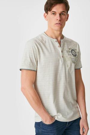 T-shirt met all over print beige