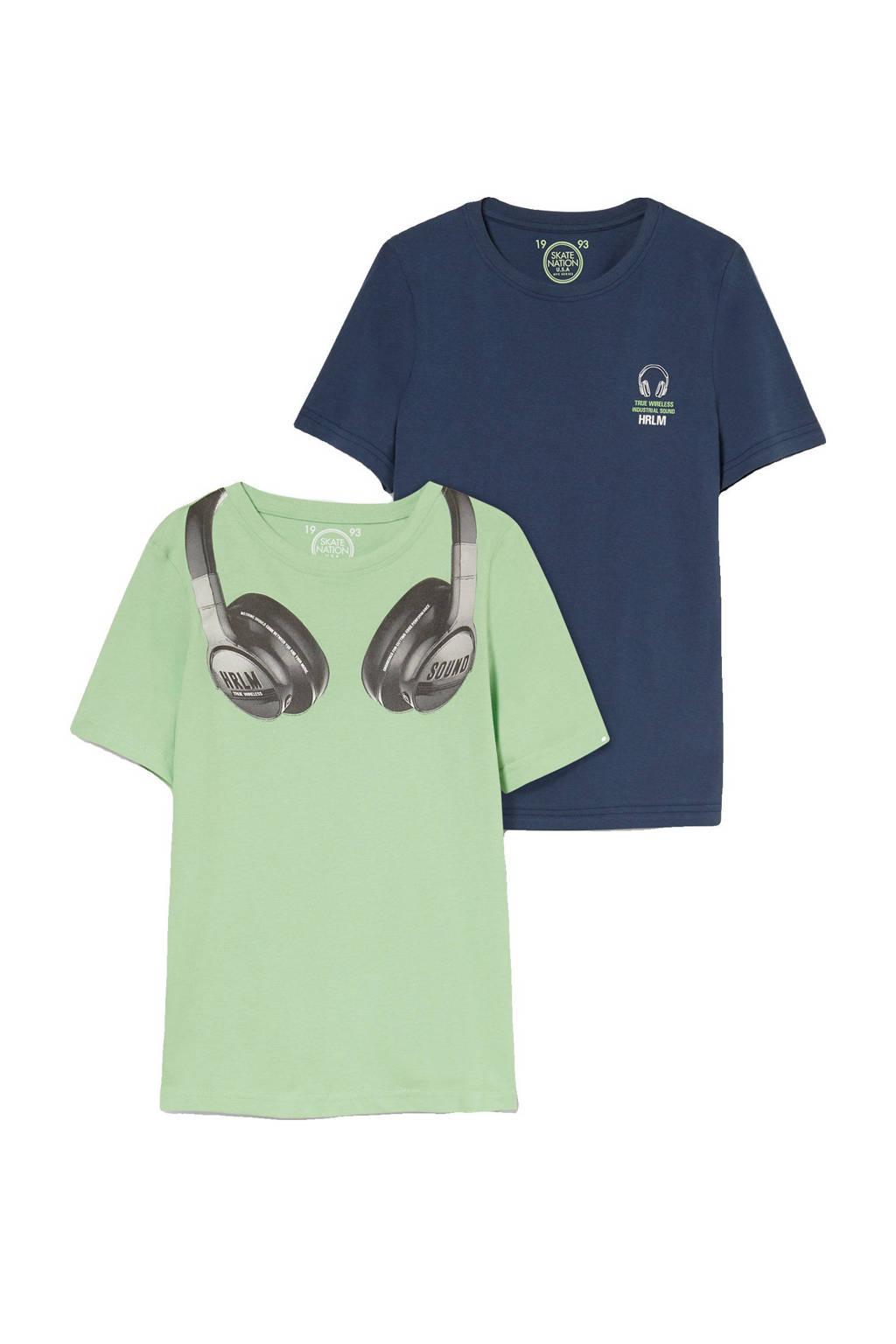 C&A Skate Nation T-shirt - set van 2 groen/blauw, Groen/blauw