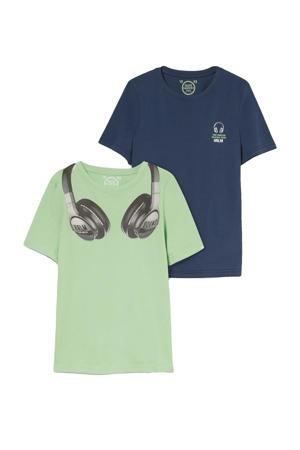 T-shirt - set van 2 groen/blauw