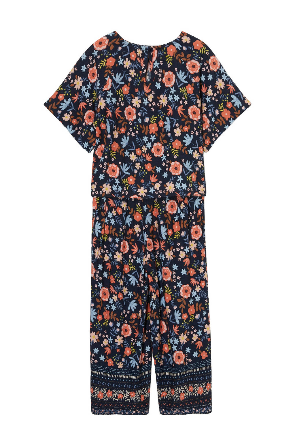 C&A Happy girls Club T-shirt + broek bloemen multi, Donkerblauw