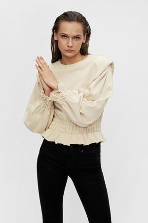 sweater OBJBELLIS met ruches beige