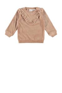 NAME IT BABY baby fluwelen sweater NBFNAYA met ruches lichtbruin, Lichtbruin