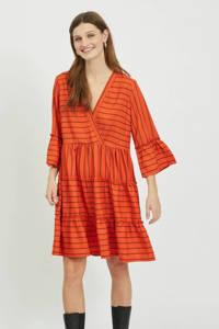 VILA A-lijn jurk VIETNA met all over print en ruches rood/oranje, Rood/oranje