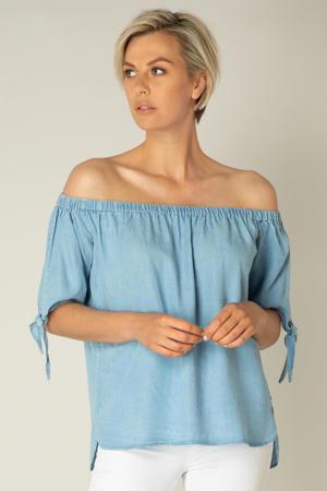 off shoulder top Kaja lichtblauw