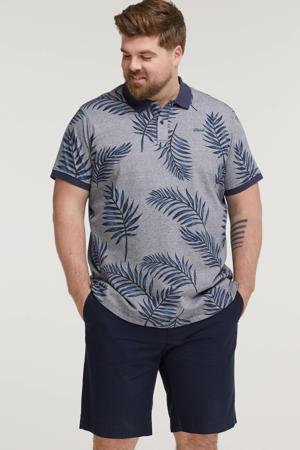 regular fit polo Plus Size met bladprint blauw