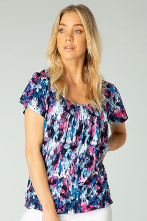 T-shirt Yogi Essential met all over print blauw/fuchsia