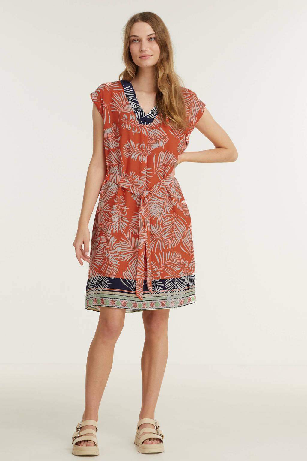 Smashed Lemon A-lijn jurk met all over print koraalrood, Koraalrood