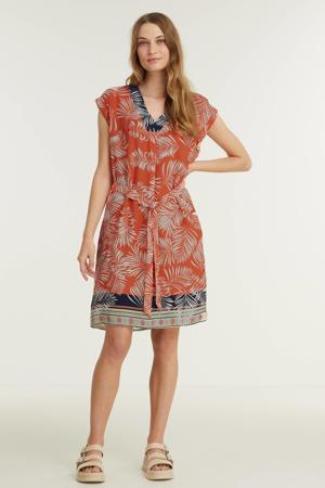 A-lijn jurk met all over print koraalrood