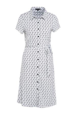A-lijn jurk van travelstof met all over print wit/zwart
