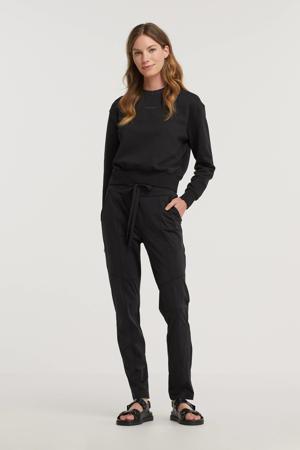 slim fit pantalon van travelstof zwart