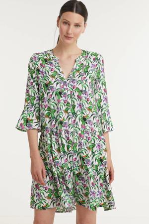 A-lijn jurk met all over print en plooien wit/groen/paars