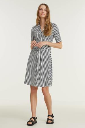 jurk met all over print en plooien zwart/wit