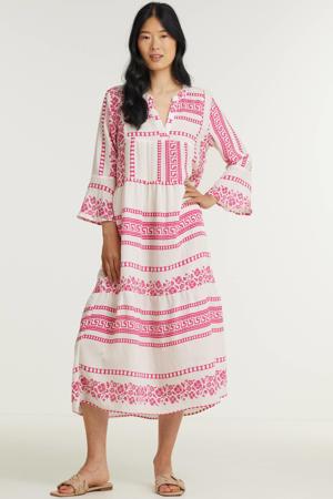 jurk met all over print en volant roze/wit