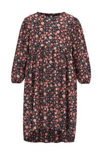 NAME IT MINI gebloemde jurk NMFVINAYA van gerecycled polyester roze/zwart/blauw, Roze/zwart/blauw