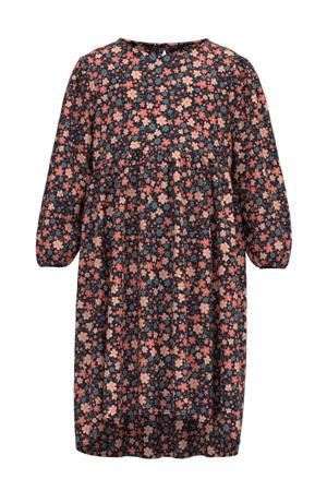 gebloemde jurk NMFVINAYA van gerecycled polyester roze/zwart/blauw