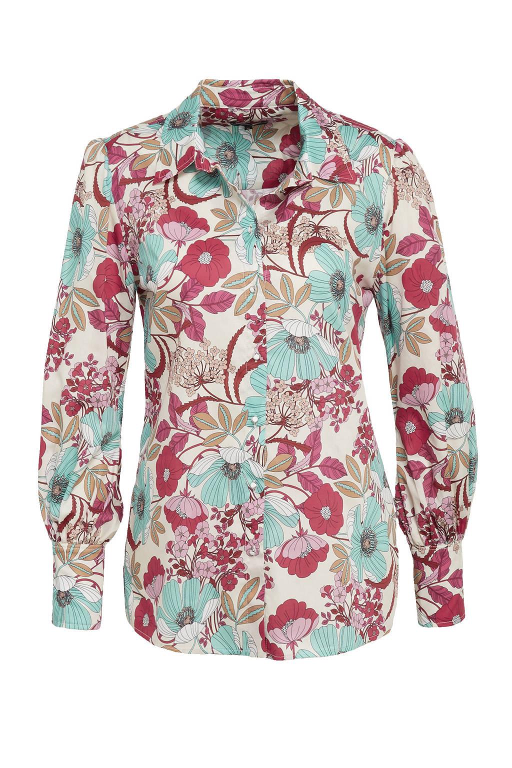 Claudia Sträter gebloemde blouse beige/lichtblauw/fuchsia, Beige/lichtblauw/fuchsia